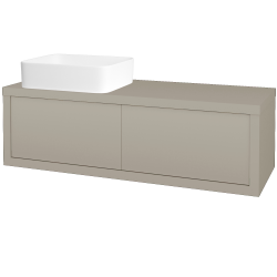 Dřevojas - Koupelnová skříň STORM SZZ2 120 (umyvadlo Joy) - L04 Béžová vysoký lesk / L04 Béžová vysoký lesk / Pravé (252045P)