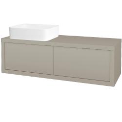 Dřevojas - Koupelnová skříň STORM SZZ2 120 (umyvadlo Joy) - M05 Béžová mat / M05 Béžová mat / Pravé (252069P)