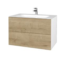 Dřevojas - Koupelnová skříň VARIANTE SZZ2 80 - N01 Bílá lesk / D09 Arlington (268787)