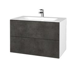 Dřevojas - Koupelnová skříň VARIANTE SZZ2 80 - N01 Bílá lesk / D16 Beton tmavý (268817)