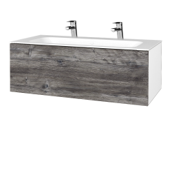 Dřevojas - Koupelnová skříňka VARIANTE SZZ 100 - N01 Bílá lesk / D10 Borovice Jackson (269265U)