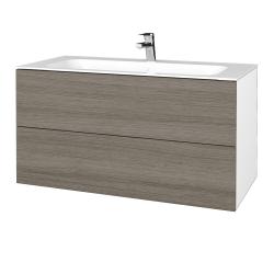 Dřevojas - Koupelnová skříň VARIANTE SZZ2 100 - N01 Bílá lesk / D03 Cafe (269678)