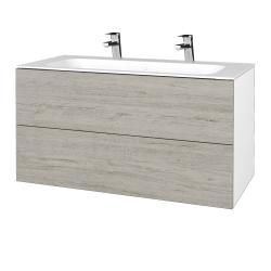 Dřevojas - Koupelnová skříň VARIANTE SZZ2 100 - N01 Bílá lesk / D05 Oregon (269692U)