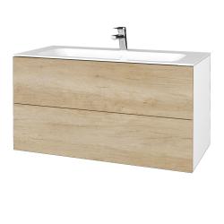 Dřevojas - Koupelnová skříň VARIANTE SZZ2 100 - N01 Bílá lesk / D15 Nebraska (269746)