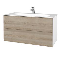 Dřevojas - Koupelnová skříň VARIANTE SZZ2 100 - N01 Bílá lesk / D17 Colorado (269760)