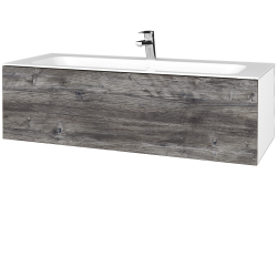Dřevojas - Koupelnová skříň VARIANTE SZZ 120 - N01 Bílá lesk / D10 Borovice Jackson (270209)