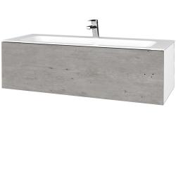 Dřevojas - Koupelnová skříň VARIANTE SZZ 120 - N01 Bílá lesk / D01 Beton (270346)