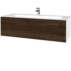 Dřevojas - Koupelnová skříň VARIANTE SZZ 120 - N01 Bílá lesk / D21 Tobacco (270384)