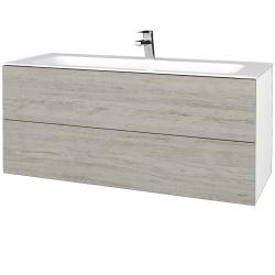 Dřevojas - Koupelnová skříňka VARIANTE SZZ2 120 - N01 Bílá lesk / D05 Oregon (270636)