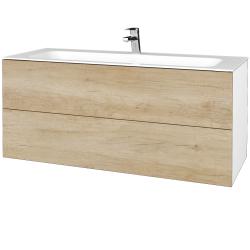 Dřevojas - Koupelnová skříňka VARIANTE SZZ2 120 - N01 Bílá lesk / D15 Nebraska (270681)