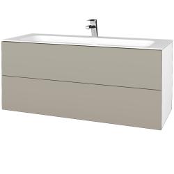 Dřevojas - Koupelnová skříňka VARIANTE SZZ2 120 - N01 Bílá lesk / M05 Béžová mat (270728)