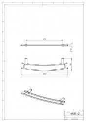NOVASERVIS - Dvojitý držákna otopný žebřík 600 mm Metalia 2 chrom (6225/1,0), fotografie 4/2