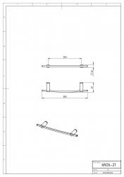 NOVASERVIS - Držák ručníků na otopný žebřík 385 mm Metalia 2 chrom (6226/1,0), fotografie 4/2