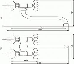 NOVASERVIS - Dřezová umyvadlová baterie 100 mm Retro II chrom (99174/T,0), fotografie 4/2