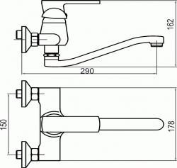 NOVASERVIS - Dřezová umyvadlová baterie 150 mm Techno chrom (95070,0), fotografie 4/2