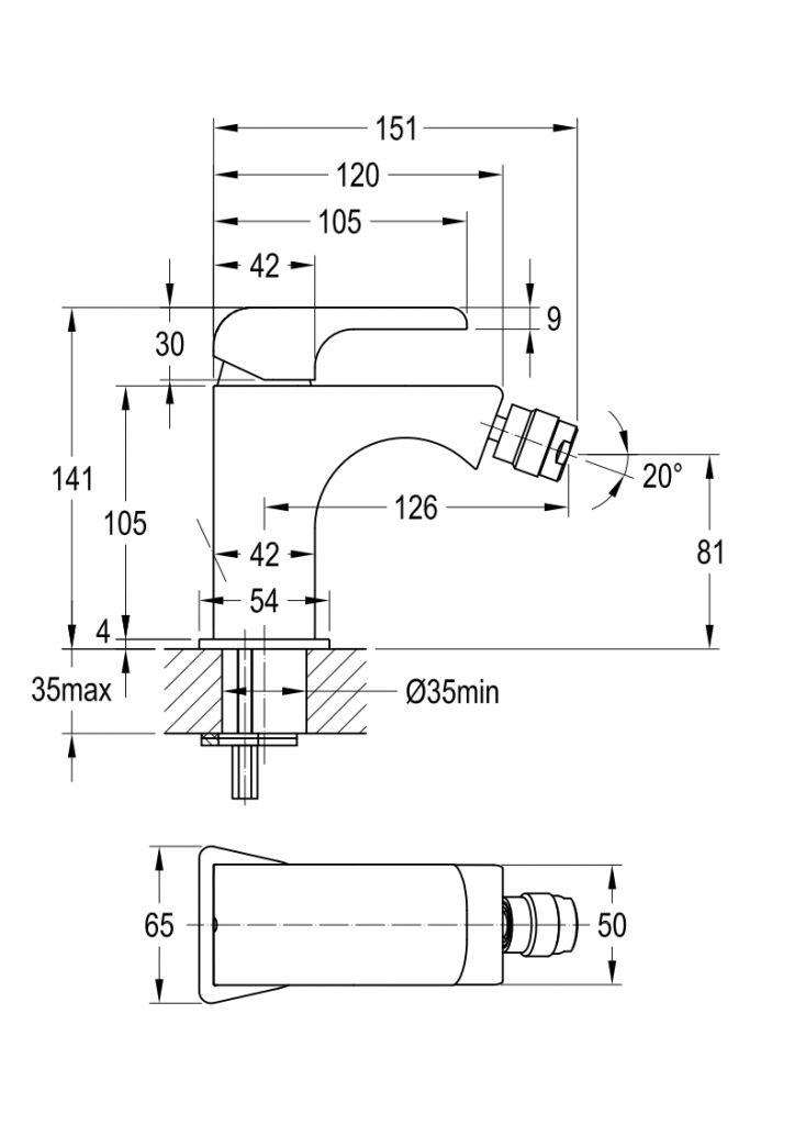 NOVASERVIS - Bidetová baterie s výpustí KVADRO chrom (35011,0)