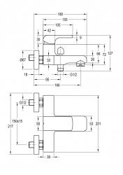 NOVASERVIS - Vanová baterie bez příslušenství 150 mm KVADRO chrom (35020/1,0), fotografie 4/2