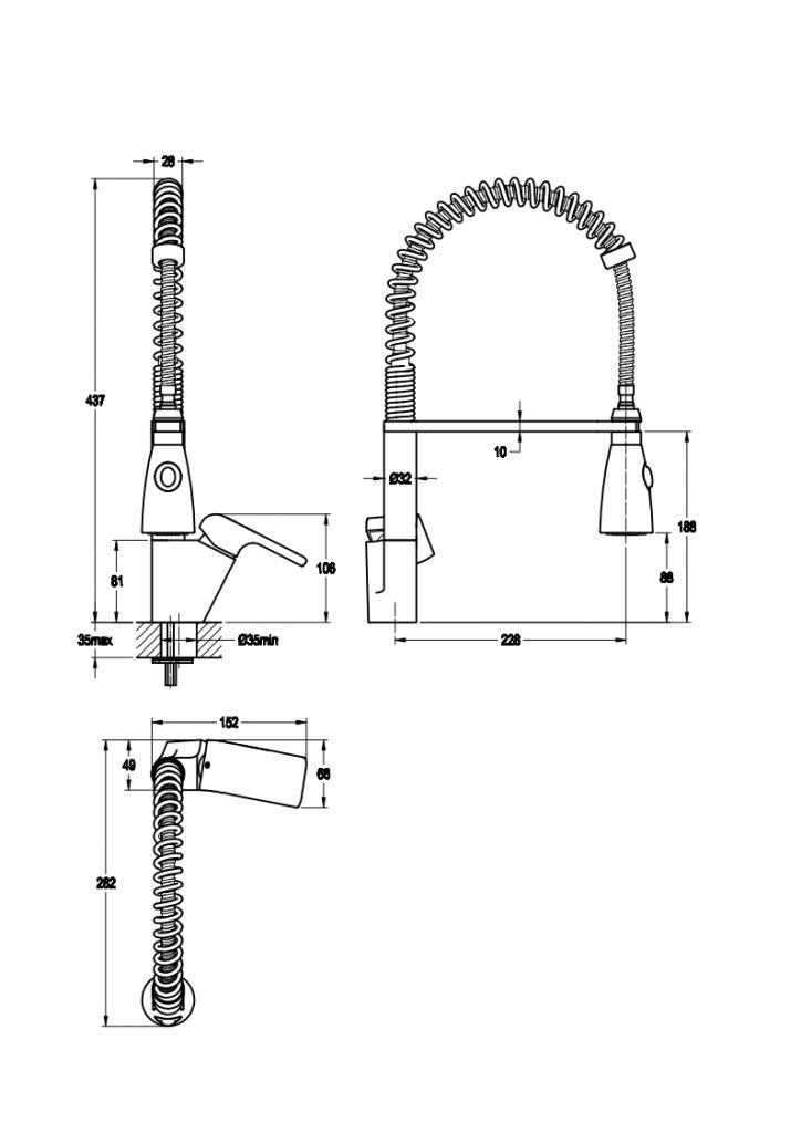 NOVASERVIS - Dřezová baterie se sprškou KVADRO chrom (35481,0)