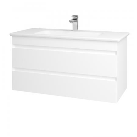 Dřevojas - Koupelnová skříň MAJESTY SZZ2 100 - L01 Bílá vysoký lesk / L01 Bílá vysoký lesk (120344)