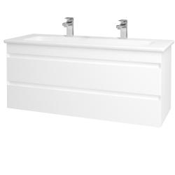 Dřevojas - Koupelnová skříň MAJESTY SZZ2 120 - L01 Bílá vysoký lesk / L01 Bílá vysoký lesk (120382U)