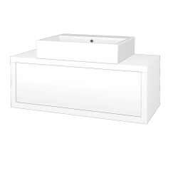 Dřevojas - Koupelnová skříň STORM SZZ 100 (umyvadlo Kube) - L01 Bílá vysoký lesk / L01 Bílá vysoký lesk (168544)