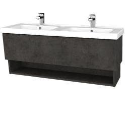 Dřevojas - Koupelnová skříň INVENCE SZZO 125 (dvojumyvadlo Harmonia) - D16  Beton tmavý / D16 Beton tmavý (184070)