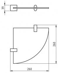 NOVASERVIS - Rohová polička Metalia 10 chrom (0035,0), fotografie 4/2