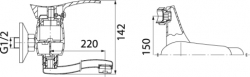 NOVASERVIS - Dřezová umyvadlová baterie 150 mm PADWA chrom (73070,0), fotografie 4/2