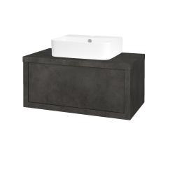 Dřevojas - Koupelnová skříň STORM SZZ 80 (umyvadlo Joy 3) - D16  Beton tmavý / D16 Beton tmavý (217648)