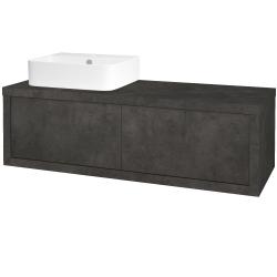 Dřevojas - Koupelnová skříň STORM SZZ2 120 (umyvadlo Joy 3) - D16  Beton tmavý / D16 Beton tmavý / Levé (218423)