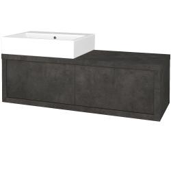 Dřevojas - Koupelnová skříň STORM SZZ2 120 (umyvadlo Kube) - D16  Beton tmavý / D16 Beton tmavý / Pravé (221508P)