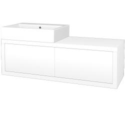 Dřevojas - Koupelnová skříň STORM SZZ2 120 (umyvadlo Kube) - M01 Bílá mat / M01 Bílá mat / Pravé (221614P)