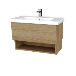 Dřevojas - Koupelnová skříň INVENCE SZZO 80 (umyvadlo Harmonia) - A01 Dub (masiv) / A01 Dub (masiv) (250256)