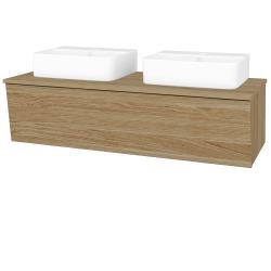 Dřevojas - Koupelnová skříň INVENCE SZZ 125 (2 umyvadla Joy 3) - A01 Dub (masiv) / A01 Dub (masiv) (250645)