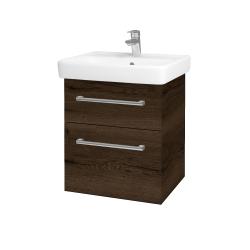 Dřevojas - Koupelnová skříň Q MAX SZZ2 55 - D21 Tobacco / Úchytka T03 / D21 Tobacco (275587C)