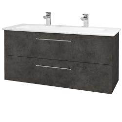 Dřevojas - Koupelnová skříň GIO SZZ2 120 - D16  Beton tmavý / Úchytka T02 / D16 Beton tmavý (202910BU)
