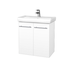 Dřevojas - Koupelnová skříň DOOR SZD2 60 - M01 Bílá mat / Úchytka T02 / M01 Bílá mat (205164B)