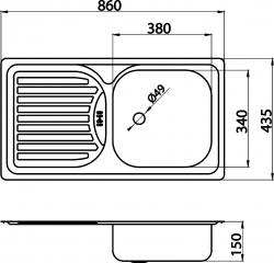 NOVASERVIS - Dřez 43,5x86 s odkapem a přepadem nerez (DR43/86), fotografie 4/2
