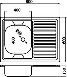 NOVASERVIS - Dřez 60x80 celoplošný s okapem pravý nerez (DR60/80), fotografie 4/2
