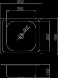 NOVASERVIS - Dřez 40x50 s přepadem nerez (DR40/50A), fotografie 4/2