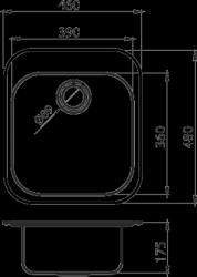 NOVASERVIS - Dřez 46x48 luxus s přepadem nerez (DR46/48), fotografie 4/2