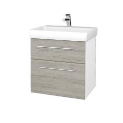 Dřevojas - Koupelnová skříň PROJECT SZZ2 60 - N01 Bílá lesk / Úchytka T02 / D05 Oregon (322625B)