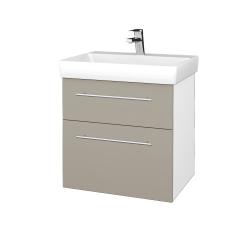 Dřevojas - Koupelnová skříň PROJECT SZZ2 60 - N01 Bílá lesk / Úchytka T02 / M05 Béžová mat (322717B)