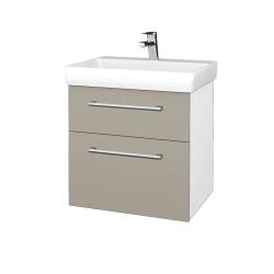 Dřevojas - Koupelnová skříň PROJECT SZZ2 60 - N01 Bílá lesk / Úchytka T03 / L04 Béžová vysoký lesk (322748C)