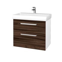 Dřevojas - Koupelnová skříň PROJECT SZZ2 70 - N01 Bílá lesk / Úchytka T01 / D06 Ořech (323097A)