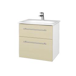 Dřevojas - Koupelnová skříň PROJECT SZZ2 60 - N01 Bílá lesk / Úchytka T02 / D02 Bříza (328405B)