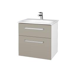 Dřevojas - Koupelnová skříň PROJECT SZZ2 60 - N01 Bílá lesk / Úchytka T01 / M05 Béžová mat (328528A)