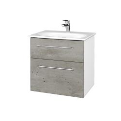 Dřevojas - Koupelnová skříň PROJECT SZZ2 60 - N01 Bílá lesk / Úchytka T02 / D01 Beton (328610B)