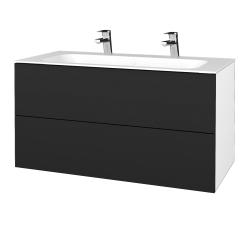 Dřevojas - Koupelnová skříň VARIANTE SZZ2 100 - N01 Bílá lesk / L03 Antracit vysoký lesk (269807U)