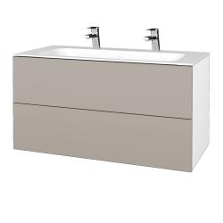 Dřevojas - Koupelnová skříň VARIANTE SZZ2 100 - N01 Bílá lesk / N07 Stone (269845U)
